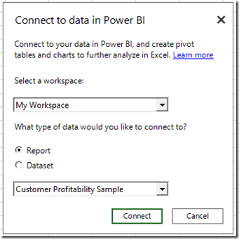 ee930ef2 8bbb 4bdd 8375 9d8168334680 Connect and analyze Power BI data directly from Excel, with the July update of Power BI publisher for Excel