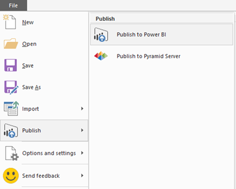 Power BI Desktop file menu - publish